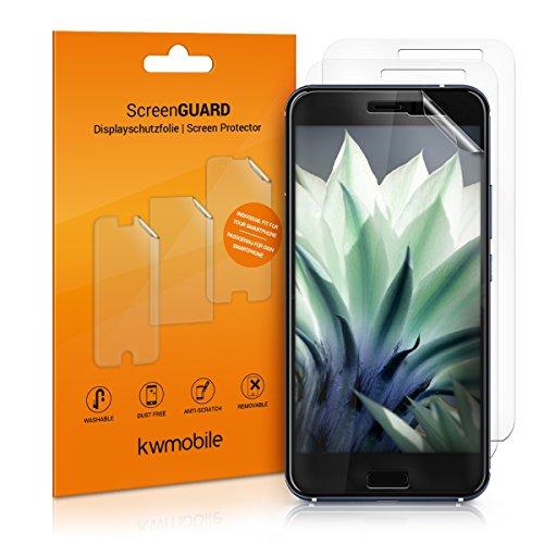 kwmobile 3x pellicola salvaschermo compatibile con HTC U11 - Film protettivo proteggi telefono - protezione antigraffio Pellicola display smartphone