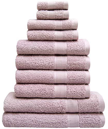 Badezimmer Handtuch-Set 10teillig – 2 Badehandtücher, 4 Handtücher, 2 Gästetuch, 2 Wash Mitt – 100 {5cc114598b8adfc78431fac0b664030650183de5a3abf0cbd996de0600e5ce80} Baumwolle – 500 g/m² – Weich & Saugfähig (Rosa)
