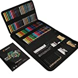 74-Piece Drawing Set - Beginner or Professional Tool Set, Pencil Case with Watercolor Pencils, Colored, Graphite, and Charcoal Pencils + Accessories - Sketch Book Included - Art Supplies for Adults