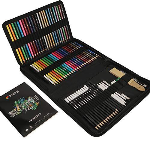 Kit Dibujo Completo 74 piezas - Principiantes o profesionales, Estuche de 24 Lapices acuarelables, 12 lapices colores 12 lapices metálicos 12 lapices de dibujo y Accesorios - 1 Cuaderno dibujo
