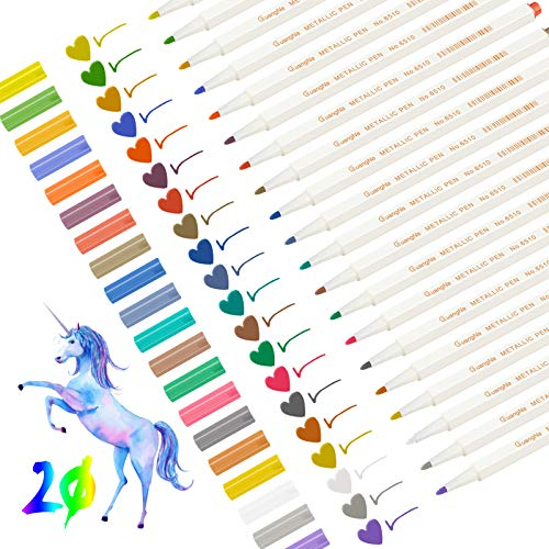 Metallic Marker Stifte, Leenou 20 Farben Metallic Marker Pens Satz, 1mm Feine Metallischen...