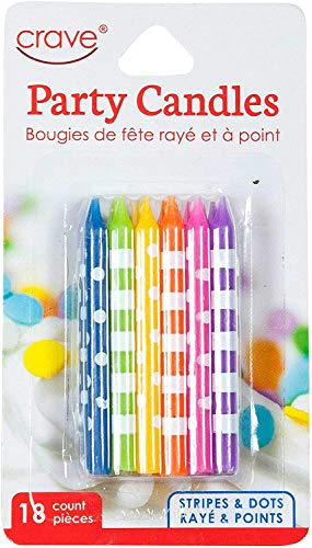 Jacent Fun Polka Dot and Striped Multicolored Birthday Candles (18 Count per Pack): 2 Packs