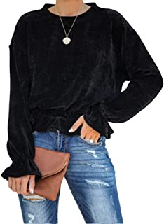 Qearal Women's Round Neck Pullover Keyhole Back Tops Long Sleeve Ruffle Loose Corduroy Shirts