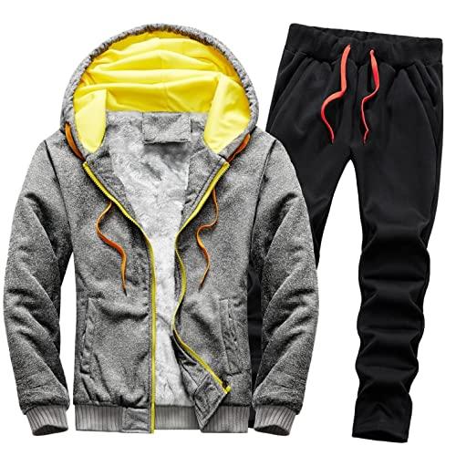 Wossei Men Shop Fleece Sports Anzug Herren Outdoor Jogginganzüge Trainingsanzüge Winter Fleece Innenseite Sportjacke und Sporthose Kapuzenpullover Kapuzenjacke Jogginghose 2-teiliges Set (Grau,4XL)