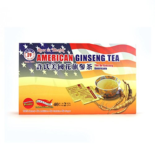 Hsu's Ginseng SKU 1038 | American Ginseng Tea, 40ct | Cultivated American Ginseng from Marathon County, Wisconsin USA | 许氏花旗参 | 40ct Box, 西洋参, B000153R4A