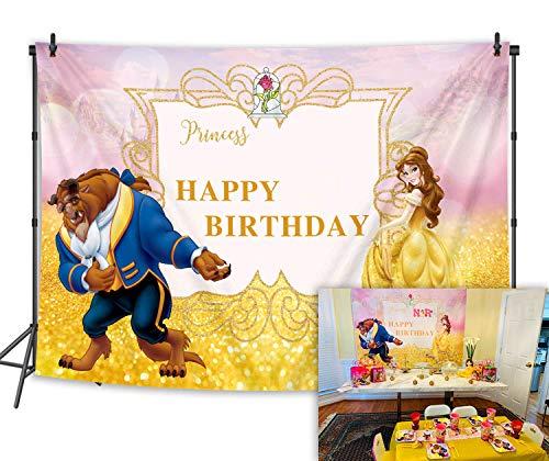"""BINQOO - Fondo para fotografía de cumpleaños de la Bella y la Bestia de 7 x 5 pies con texto en inglés """"Happy Birthday"""""""