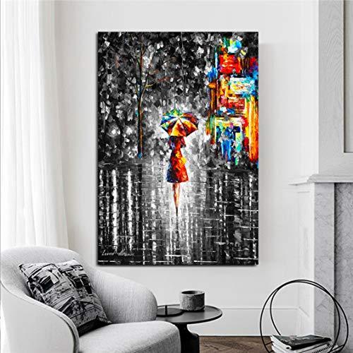Danjiao Retrato Abstracto Pinturas Al Óleo Impresas En Lienzo Impresiones Artísticas Niña Sosteniendo Un Paraguas Cuadros Artísticos De Pared Decoración De La Pared Del Hogar Sala De Estar De 40x60cm