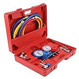 Juego de manómetros de refrigerante para aire acondicionado, herramientas de aire acondicionado, juego de manómetros de aire acondicionado R134a con manguera de carga de 5 pies