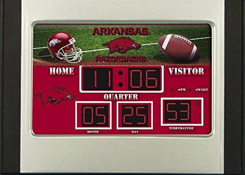 Evergreen NCAA Arkansas Razorbacks ClockDesk and Alarm, Team Colors, One Size