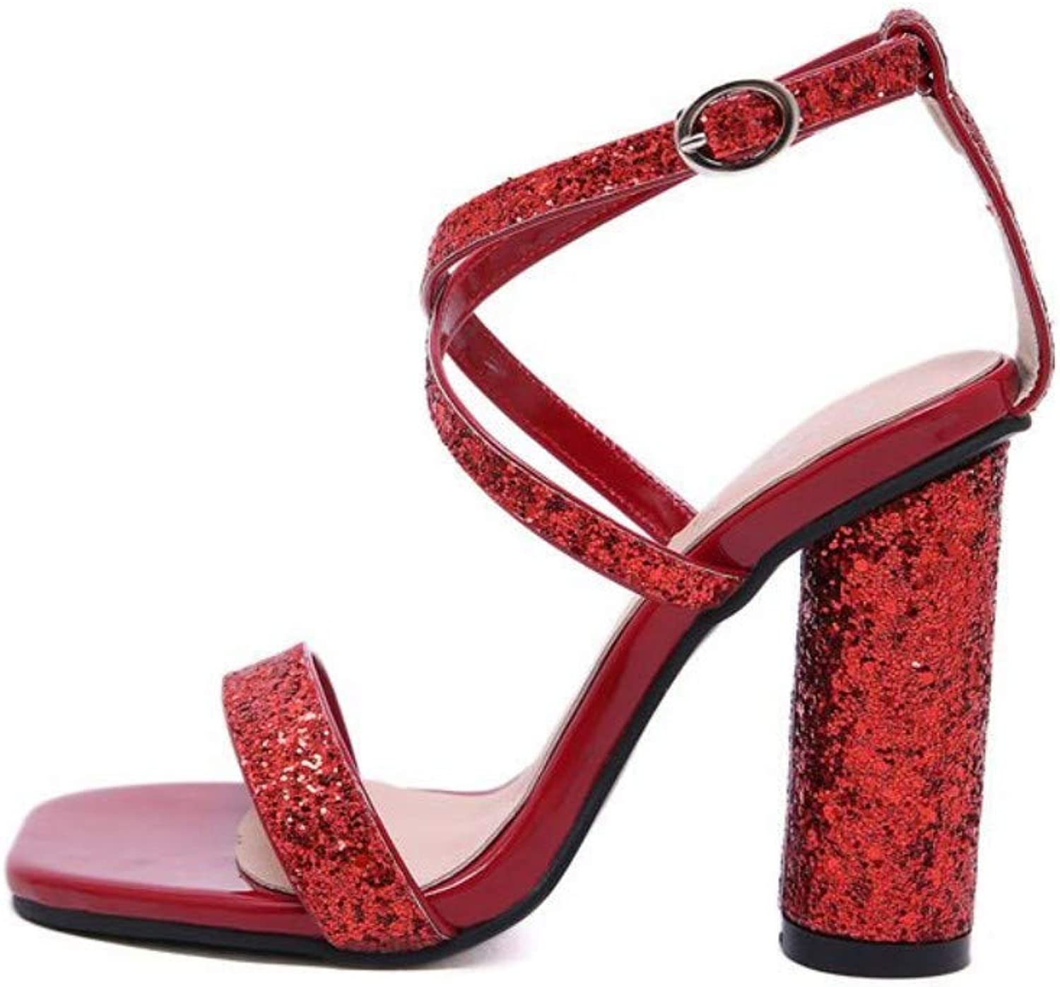 JQfashion Sexy Cross Night Club for Women's High-Heeled shoes Sequins Rough-Heeled High-Heeled Sandals