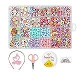 Yangtek Bambini Perline 800 PCS Fai da Te Colorate Cerchietto Braccialetti Necklace Kit Perline Lettere per Ragazze