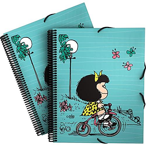 Mafalda 39822439. Carpeta de Fundas A4 con Espiral, Colección Mafalda Bici, Tapas Polipropileno Rígido, Cierre Gomas Elásticas, 30 Fundas Transparentes, Incluye Sobre con Cierre Textil