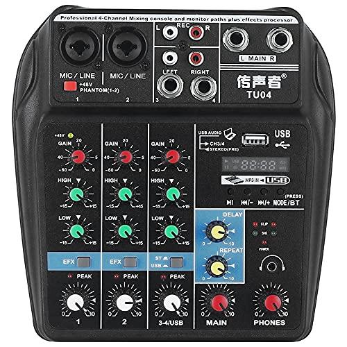 Haihui Mesa de mezclas digital portátil de 4 canales con Bluetooth y salida RCA / TRS / 3,5 mm para karaoke doméstico, webcast, grabación de música, etc.
