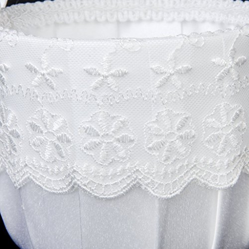 Asoaso Satin Lace Embellished Wedding Flower Girl Basket White - Sunflower Cala Feather Purple Hair Green Crown Royal Girls Pedals Prime Light Silver Arch Cake Decorati