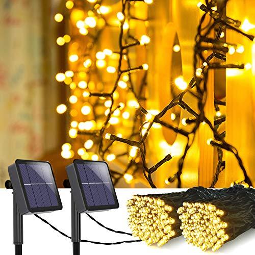 MeiGuiSha - Cadena de luces solares para exteriores (2 unidades, 10 m, 100 ledes, IP65, resistente al agua, para jardín, balcón, terraza, puerta, patio, boda, fiesta, luz blanca cálida)
