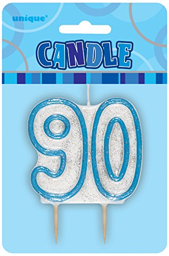 "3.5"" Blue Sparkle 90th Birthday Glitter Candle"