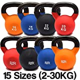 FXR Sports Cast Iron Kettlebells With Rubber Sleeve - 15 (2-30kg) - With Free A3 Workout Poster! (2kg)