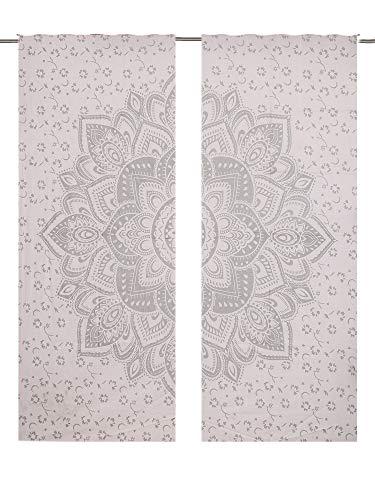 Juego de cortinas con diseño de flores y un gran mandala de flor de color plateado, 2 paneles