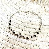 Bracciale rosario con croce in Filigrana Sarda, onice nero, Argento brunito (24)