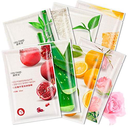 Mascarilla Facial Hidratante BISUTANG con tejido revitalizante, colágeno, antienvejecimiento. cosmética asiática. Miel, té verde, granada, naranja, bambú, aloe vera, rosa, arroz. (10)