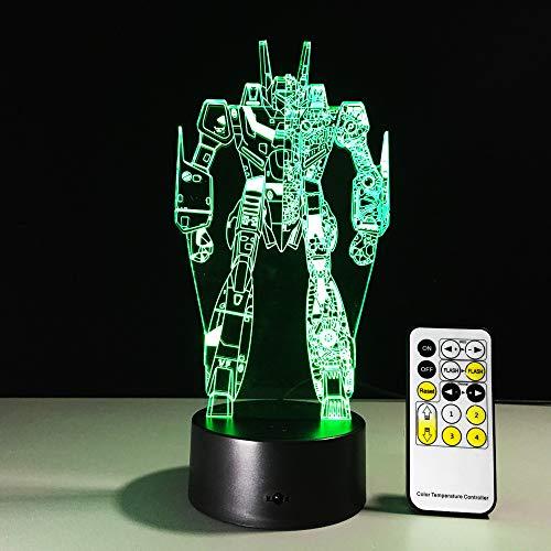 Solo 1 colores Transformers Lámpara Colorful Vision Stereo LED Lámpara 3D Gradiente de luz Lámpara de acrílico Sensor táctil Control remoto Luz nocturna
