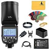 Godox V1-S Redonda Cabeza Flash 1/8000 HSS 76Ws GN92 2.4G TTL y 2600mAh Lithimu batería para Sony HVL-F60M, HVL-F43M, HVL-F32MCamera(V1-S)