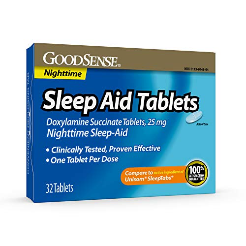 GoodSense Sleep Aid Doxylamine Succinate tablets, 25 mg, 32-count, Nighttime Sleep Aid to Help You Fall Asleep