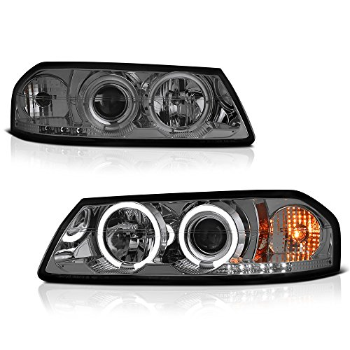 [For 2000-2005 Chevy Impala] LED Halo Ring Chrome Smoke Projector Headlight Headlamp Assembly, Driver & Passenger Side