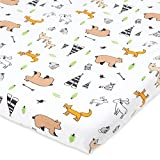 Bassinet Fitted Sheet Compatible with Chicco Lullago Bassinet and Chicco Close to You 3-in-1 Bedside Sleeper – Snuggly Soft Jersey Cotton – Fits Perfectly on 19 x 32' Mattress Pad – Woodlands