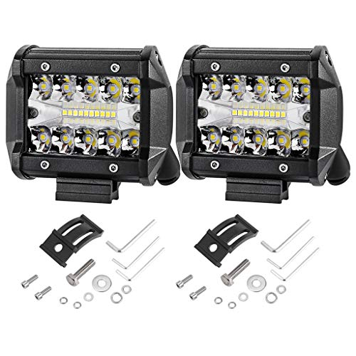 2 PCS 60W Luz de Trabajo LED Cuadrada proyector de coche, Faros de Trabajo LED 12V/ 24V Foco LED Impermeable para Coche para ATV Jeep SUV Excavadora Camión Ttractorluces