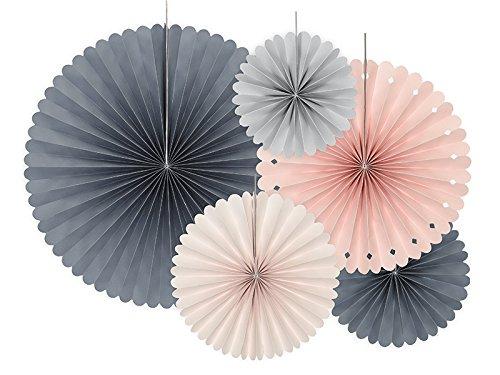 Party Deco Dekorative Papier Rosetten Set - Farben Mix, 3 Stück - Aufhängen Fächer, Papierfächer, Papierrosetten für Event, Hochzeit, Geburtstag, Babyshower, Dekoration