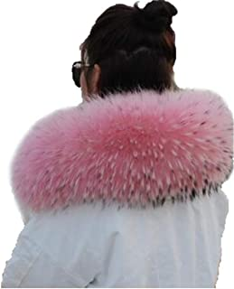 Women's Real Raccoon Fur Winter Collar Scarf Wrap Neck Warmer for Coat
