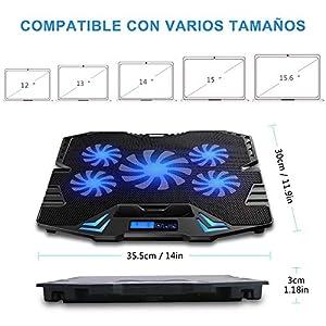 TopMate C5 10-15.6 pulgadas Gaming Laptop Cooler Cooling Pad   5 ventiladores silenciosos y pantalla LCD   Fuerte viento de 2500 RPM dise?ado para jugadores y oficinas