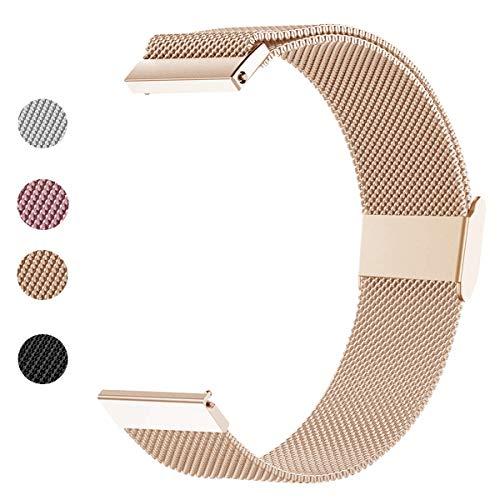 ANNYOO Armband für Gear S3 Classic/S3 Frontier, 22 mm Stegbreite Mesh Gewebte Uhrenarmband Edelstahl Metall Armband für Samsung Galaxy Watch 46mm (Roségold)