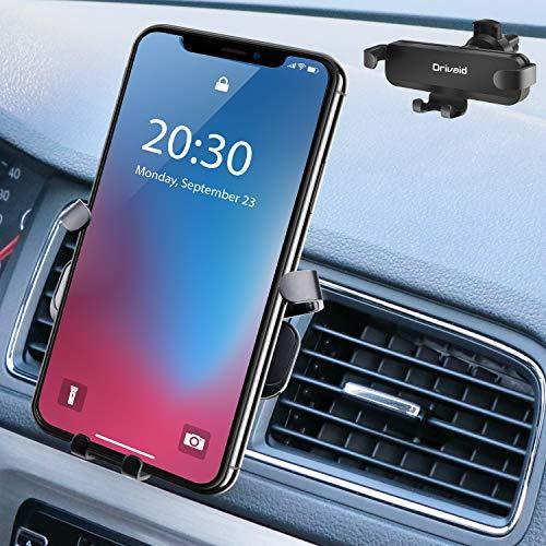 Drivaid Soporte Móvil Coche Ventilación, Gravedad Porta Movil Coche Universal con 360 Grados Rotación para Rejillas del Aire de Coche para iPhone, Android Samsung, Huawei, Smartphone y GPS Dispositivo