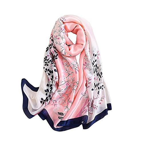 Silk Scarf Women Silk Chiffon Shawl Stain Neckerchief Long Head Wrap Lightweight Scarf Ladies Hijab Belt Vintage Bridal Shawl Chiffon Scarf Muslim Colorful Cloth floral silk scarf Pink 180 * 90CM