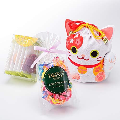 新宿高野 招き猫巾着袋E ホワイト 洋菓子 ギフト スイーツ セット (フルーツチョコ /果実サブレ)
