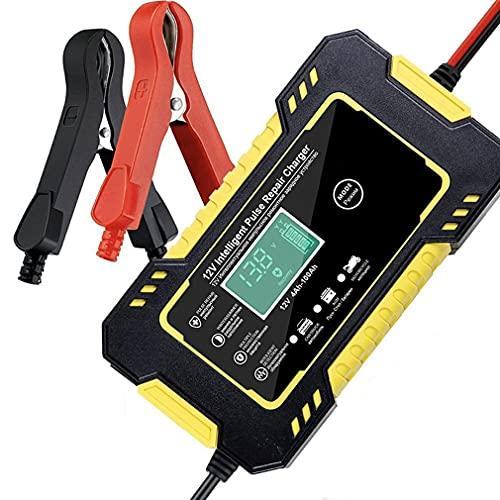 Deliu Cargador de batería de Coche 12V 6A Reparación de Pulso para automóvil Carga rápida de energía Batería Seca húmeda Pantalla LCD Digital Amarillo UE