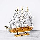 Barca a vela in legno 33 cm bianco portico del vino armadietto del vino home decor camera da letto simulazione barca in legno modello di visualizzazione personalità casa in legno massello modello di b