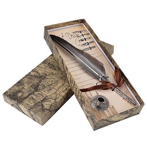 Dip-Pen,VBESTLIFE Kugelschreiber mit 5 Ersatzfedern und Aufbewahrungsbox Geschenk Kompatibel für Freunde, Familienmitglieder und Lehrer usw.(Schwarz)