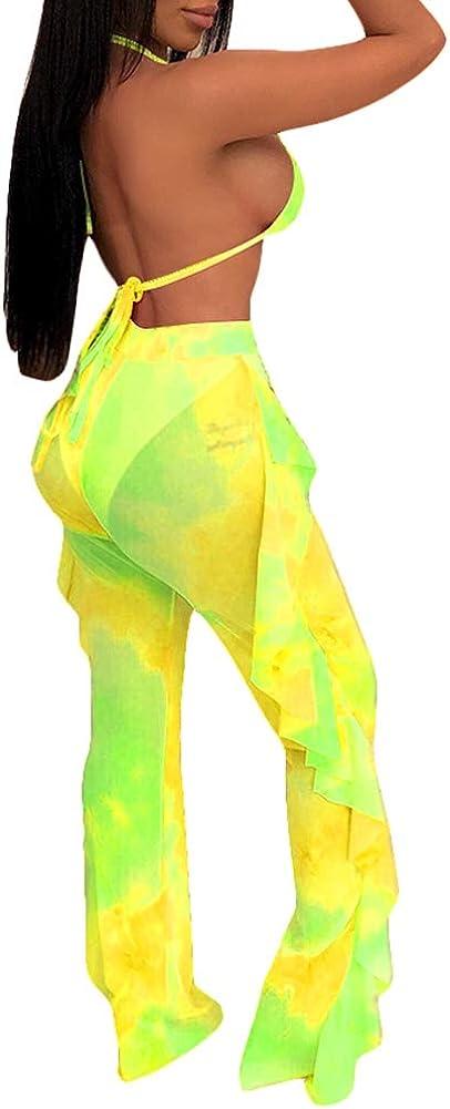 Ophestin Womens Sexy Halter Sheer Bikini Ruffle Long Pants Set 2 Piece Swimsuit