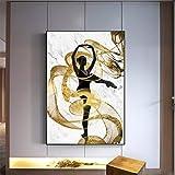 Cuadro en lienzo Cinta dorada Flying Dancer Girl Arte de la pared Carteles abstractos e impresiones Imagen para la decoración de la sala de estar -60x90cm No Frame