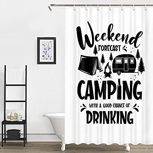 White Black RV Shower Curtains, Camping Trailer Outdoors Adventure Badge with Tent Tree Shower Curtain for Camping Trailer Bathroom, Shorter and Narrow Odorless Fabric Camper Curtains 47 X 64 Inches