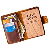 Field notes leather cover, Field notes leather wallet, notepad wallet, Cahier Moleskine cover, Notebook Pocket size cover with pen holder, Leather cover for notepad 3.5'x5.5'. Brown Field note cover