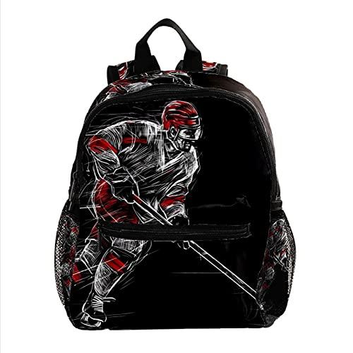 Longfind Cute Casual Wandern Daypack Bookbag Schultasche Rucksack für Mädchen Frauen Prinzessin Schulrucksack Mädchen Büchertasche Black-Eishockey-Spieler
