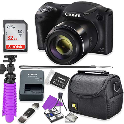 Canon PowerShot SX420 is Digital Camera (Black) Accessory Bundle with Flexible Spider Tripod, 32GB Memory, Camera Case and More.