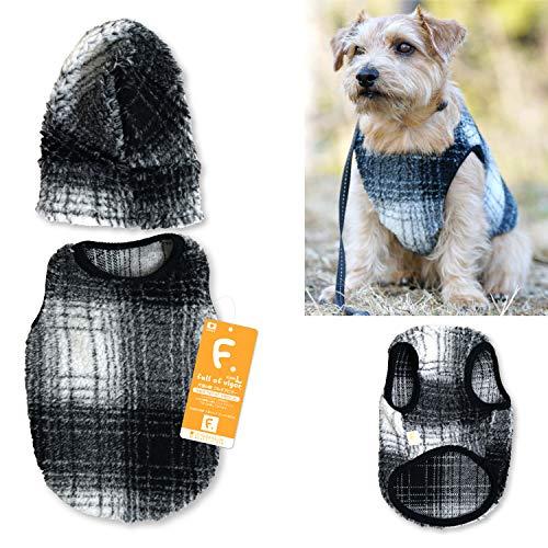 犬猫の服 full of vigor_スヌード付きチェックボアタンク_4/ブラック_DML_小型犬・ダックス用