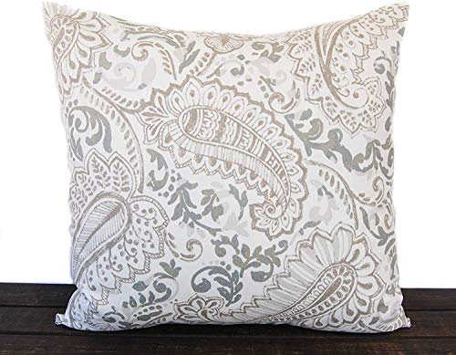 8Jo6Poe Farmhouse Throw Pillow Cover Tan Beige and White 18x18 inch Lumbar Vintage Indigo Mud Cloth Best Present for Mother's Day Parents Housewarming Modern Sofa Bedding Decor