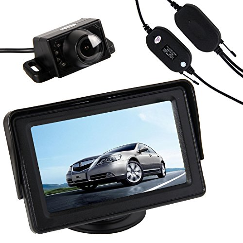 Pathson 4.3 TFT LCD Moniteur+Caméra de Recul Couleur Sans Fils avec Large Angle Vision de 120°et 7 IR Lampes de Nuit Etanche