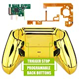 eXtremeRate Chrome Gold Lofty Programable Remap & Trigger Stop Kit, Upgrade Boards & Redesigned Back Shell & Side Rails & Back Buttons & Trigger Lock for Xbox One S/X Controller Model 1708